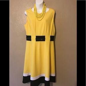 Calvin Klein dress yellow with black/white trim